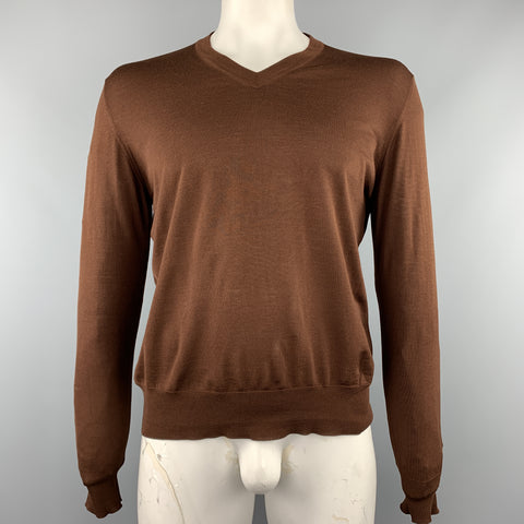 HERMES Size XL Brown Knitted Merino Wool V-Neck Pullover
