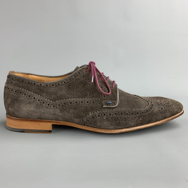 PAUL SMITH Size 9 Taupe Perforated Suede Wingtip Lace Up Shoes