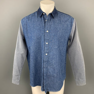 LEVI'S MADE & CRAFTED Size M Indigo Mixed Fabrics Cotton Oversized Long Sleeve Shirt