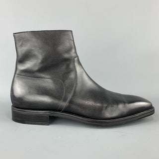 GRAVATI Size 11 Black Leather Squared Point Toe Ankle Boots