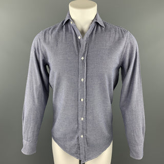 RALPH LAUREN Purple Label Size S Navy & White Houndstooth Cotton Button Up Long Sleeve Shirt