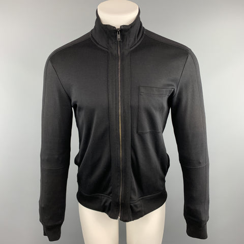 HUGO BOSS Size S Solid Black Cotton Zip Up Jacket