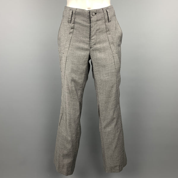 KOHSHIN SATOH Size 30 Grey Heather Polyester Blend Casual Pants