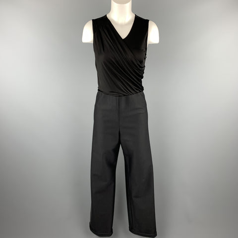 GIORGIO ARMANI Size 8 Black Draped Top Wide Leg Tuxedo Jumpsuit
