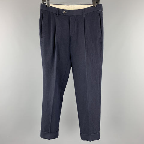 UNITED ARROWS Size 30 Navy Pleated Cuffed Casual Pants