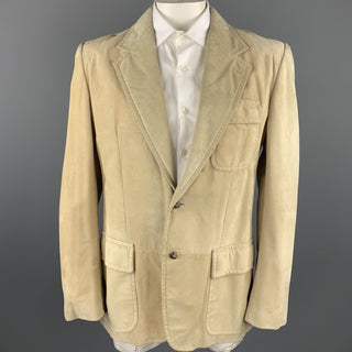 YVES SAINT LAURENT Rive Gauche Size 42 Natural Suede Notch Lapel Jacket