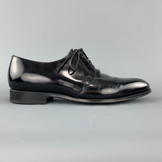 DIOR HOMME Size 8 Black Pointed Leather Lace Up Derby Dress Shoes