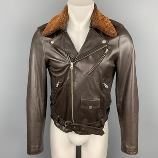 APC Size XS Brown Leather Detachable Collar Biker Jacket