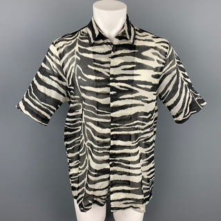 DRIES VAN NOTEN S/S 20 Size XS Black & White Zebra Cotton Button Up Short Sleeve Shirt