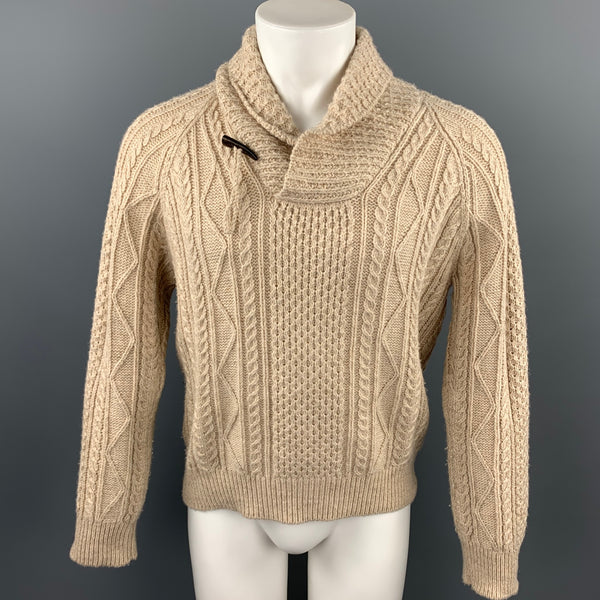 RALPH LAUREN Size M Khaki Cable Knit Wool / Linen Shawl Collar Sweater