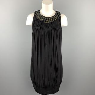 PAUL SMITH Black Label Size 4 Black Pleated Silk Shift Dress