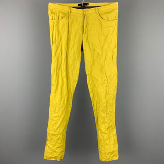 GIGLI Size 30 Chartreuse Wrinkled Cotton Blend Zip Fly Casual Pants