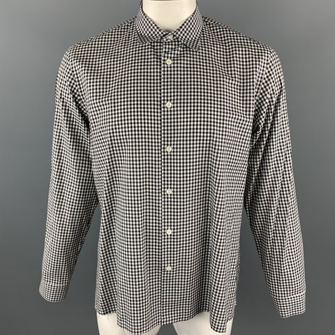 PRADA Size XL Black & White Checkered Cotton Long Sleeve Shirt