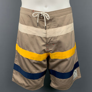 IRON AND RESIN Size 36 Taupe Stripe Polyester Shorts