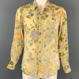 PAUL SMITH Size XL Beige Floral Viscose / Silk Button Up Long Sleeve Shirt