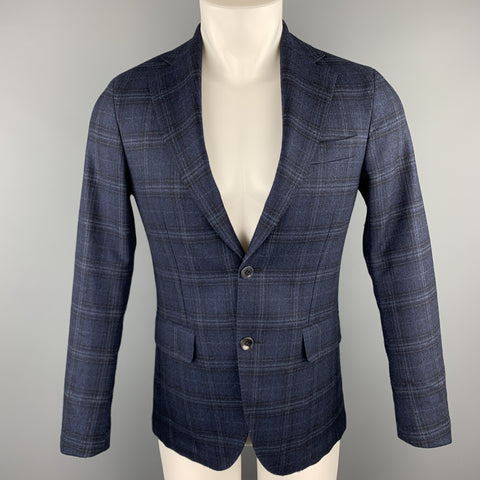 OSCAR JACOBSON Size 36 Navy Plaid Wool Notch Lapel Sport Coat