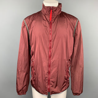 PRADA SPORT Size 40 Burgundy & Pink Color Block Nylon Hooded Jacket