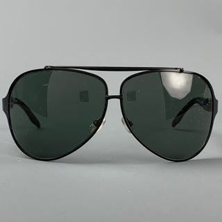 RALPH LAUREN Black Metal Aviator Sunglasses