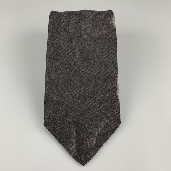 GIORGIO ARMANI Black Wool Blend Abstract Floral Print Tie