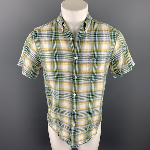 CHAMBRAY Size S Green Plaid Linen Button Down Short Sleeve Shirt