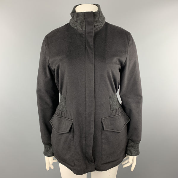 LORO PIANA Size 10 Charcoal Cashmere High Collar Ribbed Waist STORM SYSTEM Jacket