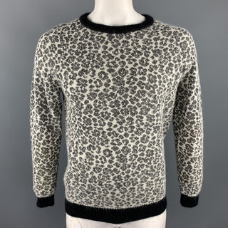 SAINT LAURENT Size L Black & White Leopard Print Mohair Blend Crew-Neck Sweater