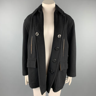 JEAN PAUL GAULTIER CLASSIQUE Size 10 Black Wool Blend Open Front Coat