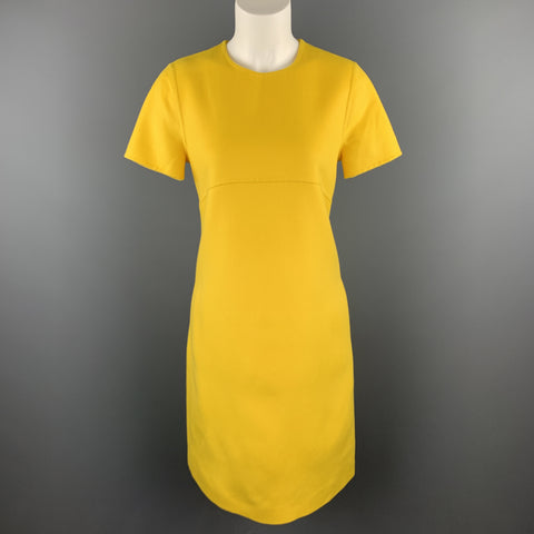 ESCADA Size 6 Yellow Virgin Wool Cashmer Blend Short Sleeve Shift Dress