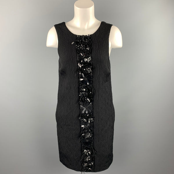 MSGM Size 6 Black Jacquard Embellished Viscose Blend Shift Dress