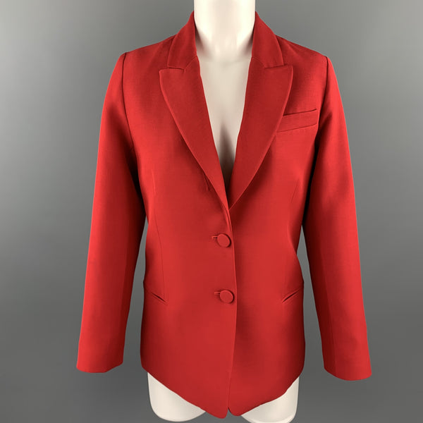 VALENTINO Size 2 Red Silk Wool Peak Lapel Blazer