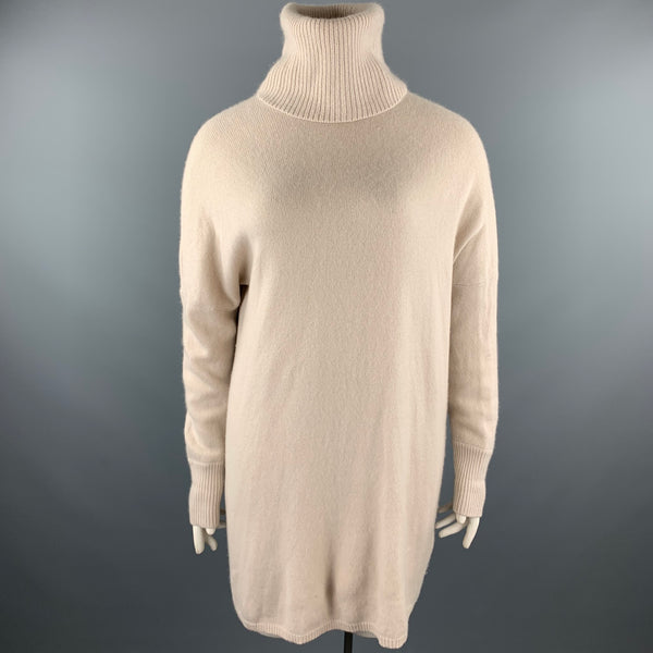 TSE Size L Nude Knitted Cashmere Turtleneck Sweater Dress