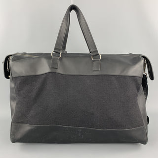ERMENEGILDO ZEGNA Solid Black Canvas Weekender Bag