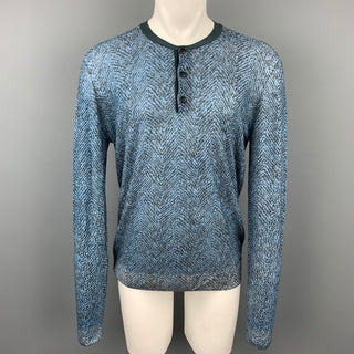GIORGIO ARMANI Size XXL Blue & Charcoal Print Polyamide Henley Pullover