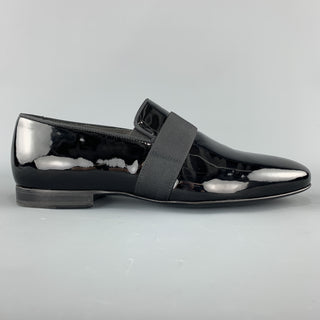 LANVIN Size 10 Black Patent Leather Tuxedo SlipperLoafers