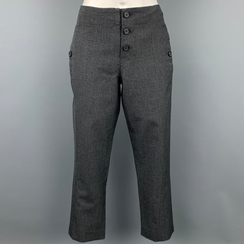 MARNI Size 2 Grey Virgin Wool Cropped Casual Pants