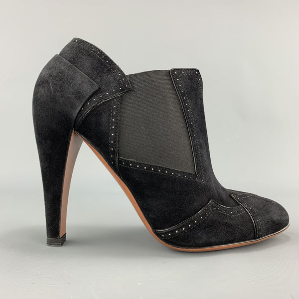 ALAIA Size 7 Black Suede Heeled Pointed Ankle Booties