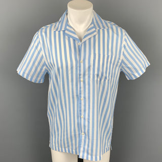 ONIA Size S White & Blue Stripe Cotton / Modal Camp Short Sleeve Shirt