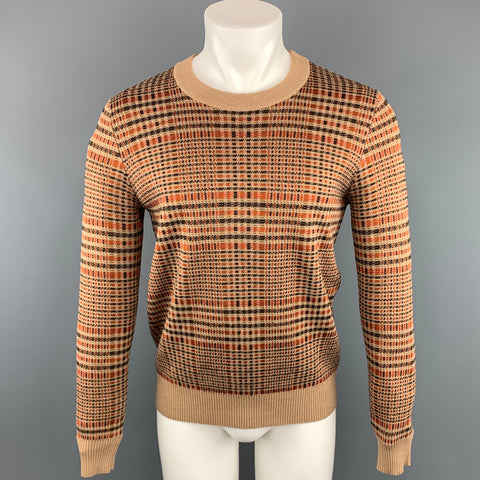 DRIES VAN NOTEN Size S Tan & Orange Plaid Wool Blend Crew-Neck Sweater