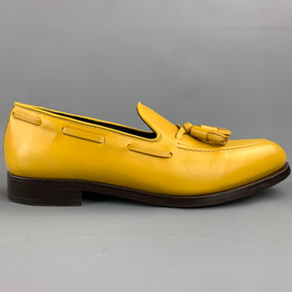 PAUL SMITH Size 8 Yellow Leather Slip On Tassel Loafers