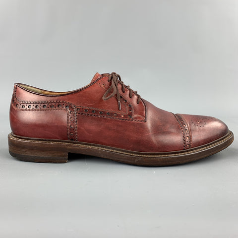 GUCCI Size 8.5 Burgundy Perforated Leather Lace Up Shoes