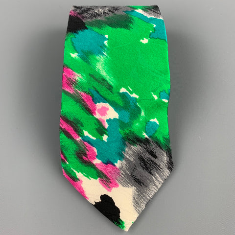 BRIONI Green Abstract Print Silk Tie