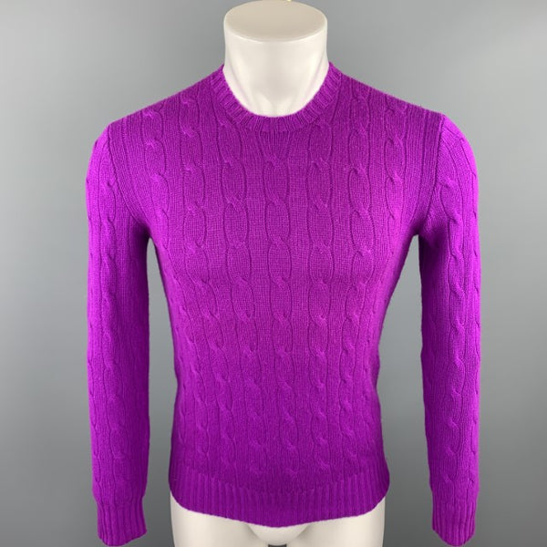 RALPH LAUREN Size XS Magenta Cable Knit Cashmere Crew-Neck Sweater