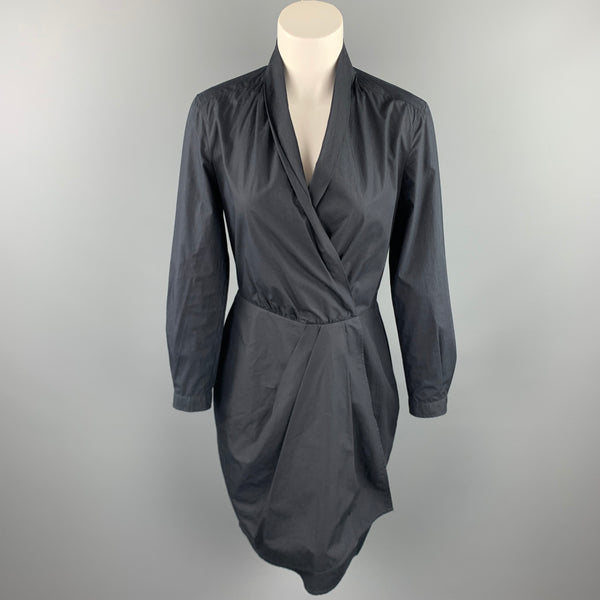 MAX MARA Size 8 Black Popin Cotton Wrap Long Sleeve Dress