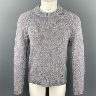 LOUIS VUITTON Size S Light Gray Melange Cotton / Polyamide Raglan Sweater