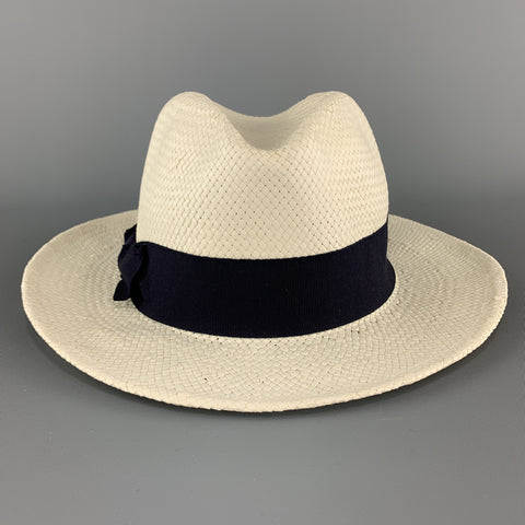 SAKS FIFTH AVENUE Cream Woven Straw Navy Stripe Fedora