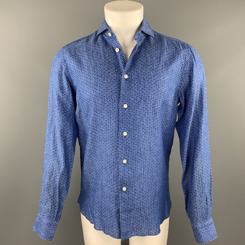 FOURSPORT Size S Blue Print Linen Button Up Long Sleeve Shirt