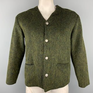 TESSUTI Size L Olive Textured Buttoned Cardigan
