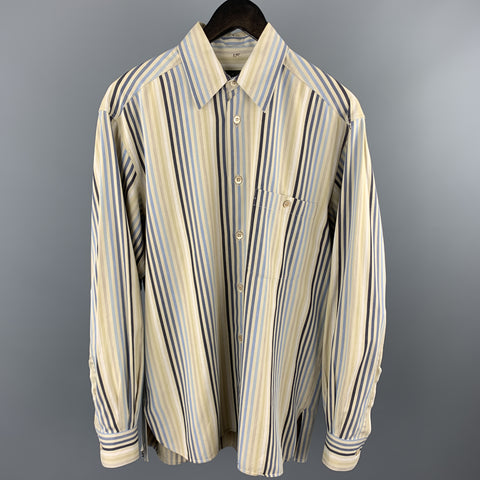 ERMENEGILDO ZEGNA Size S Khaki Stripe Cotton Button Up Long Sleeve Shirt