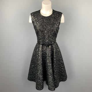 GIAMBATTISTA VALLI Size 6 Black Brocade Polyamide Blend A-Line Dress