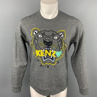 KENZO Size M Gray & Yellow Tiger Embroidered Cotton Crew-Neck Pullover